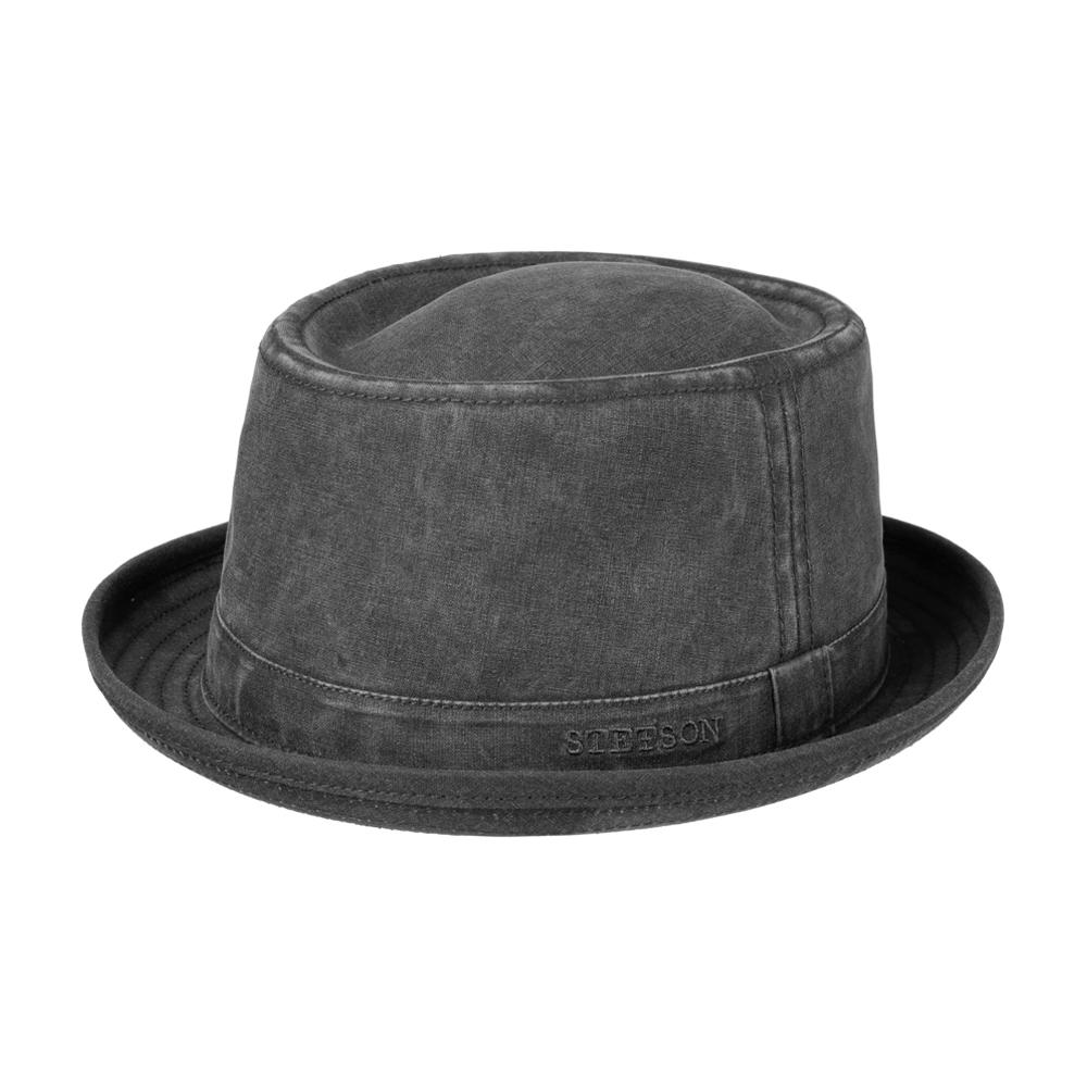 Stetson - Organic Cotton Pork Pie Cloth Hat - Fedora - Black
