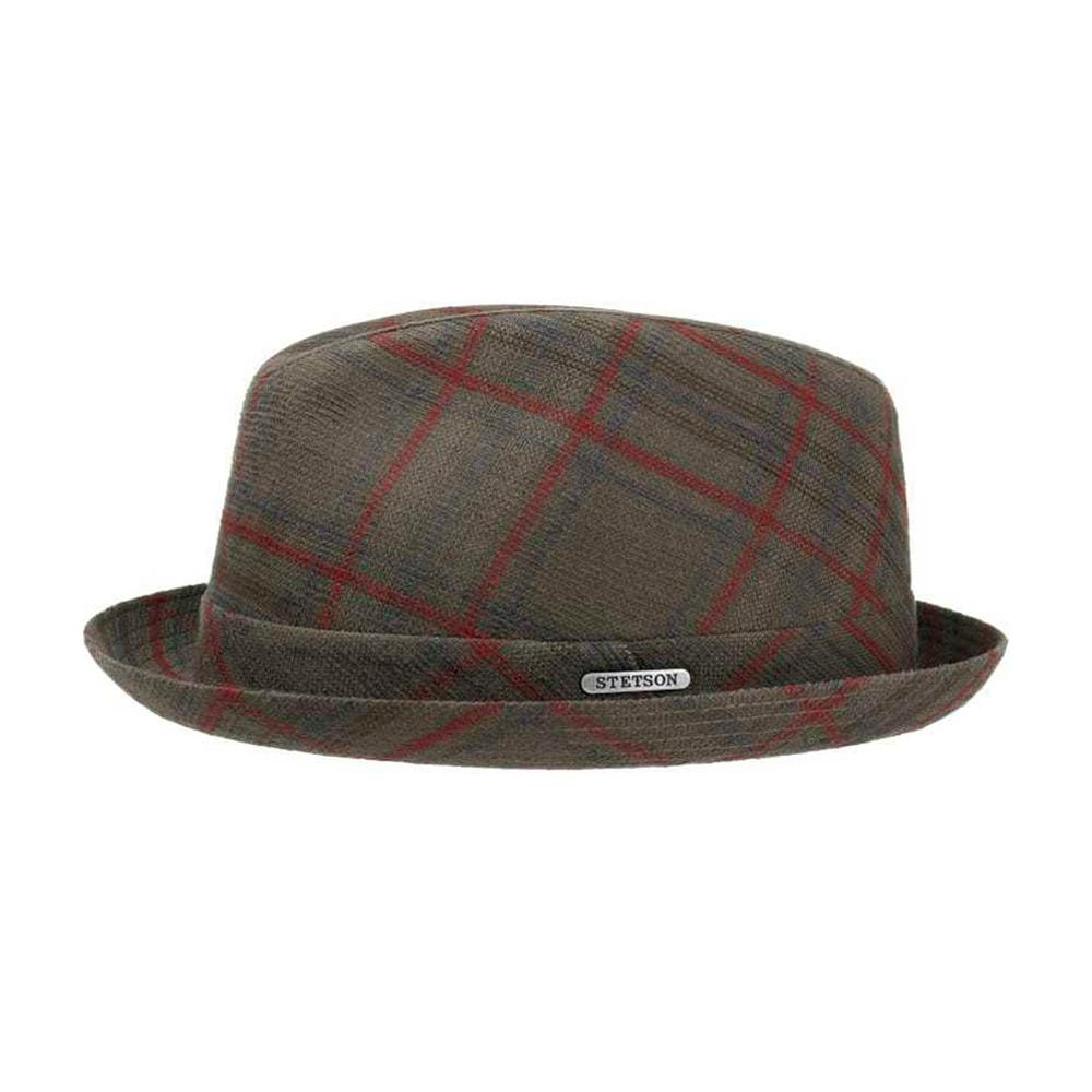 Stetson - Player Cotton Check - Fedora Hat - Grey