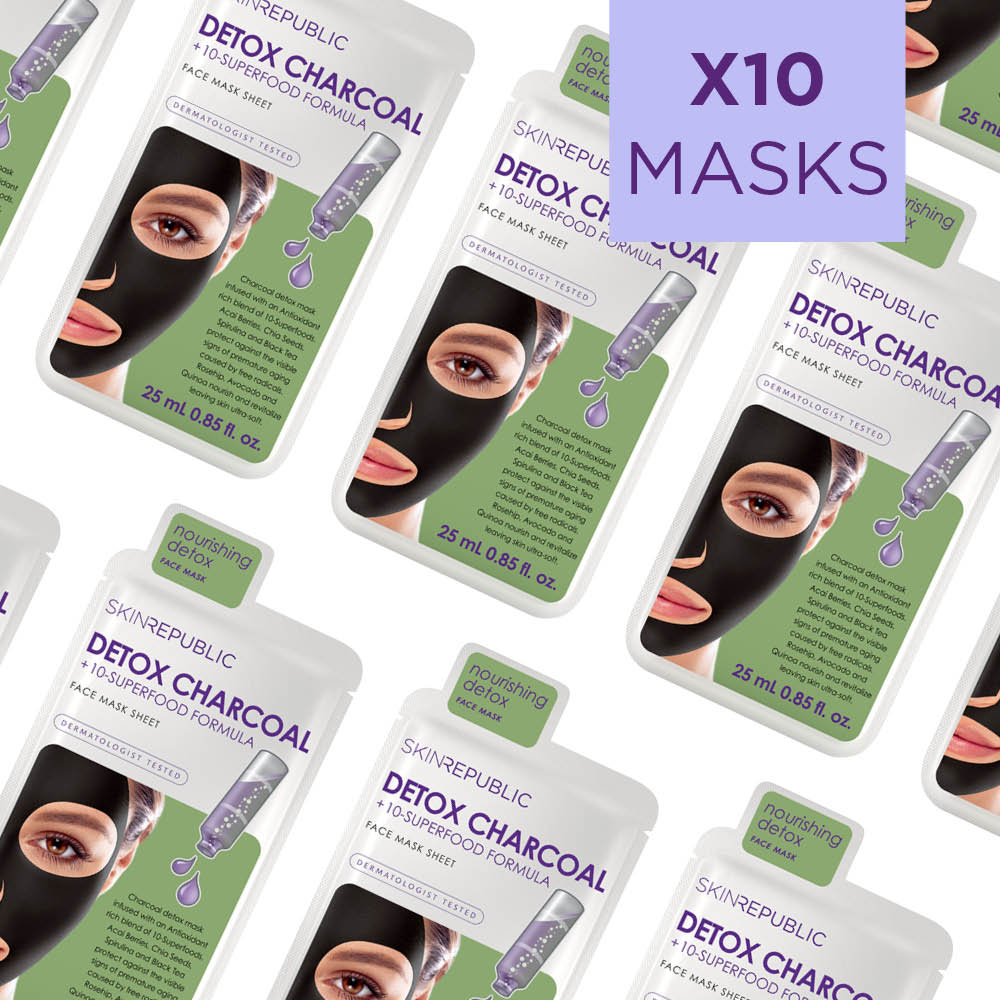 Detox Charcoal + 10 Superfood Formula Face Sheet Mask (Pack Of 10)