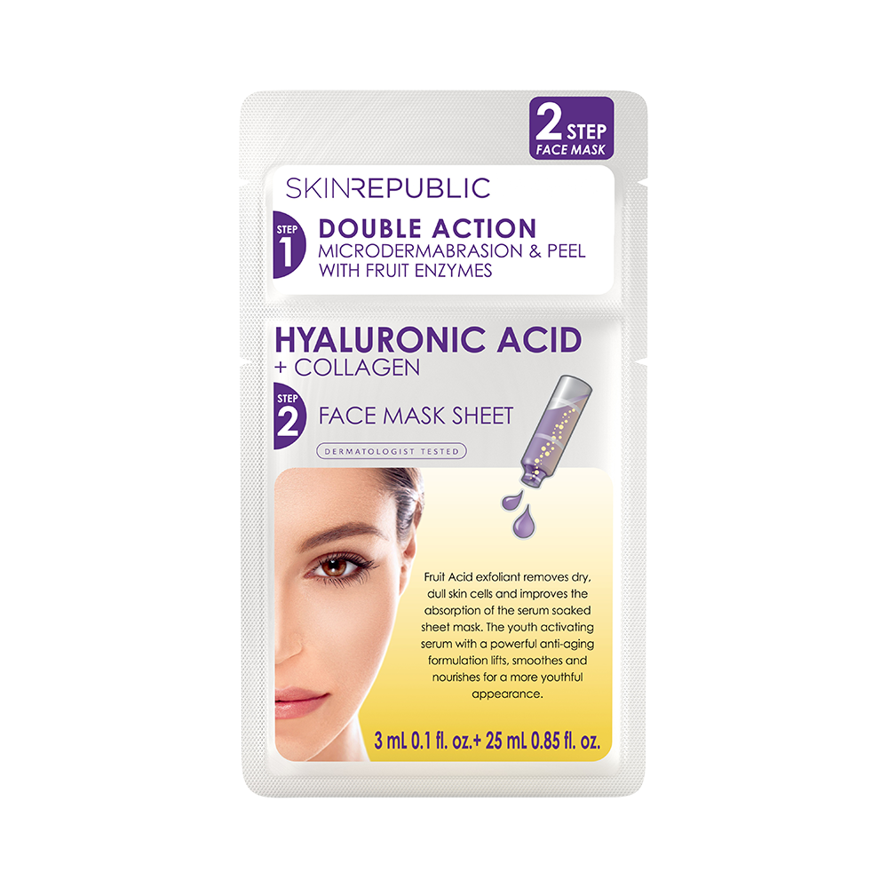2 Step Hyaluronic Acid + Collagen Face Sheet Mask