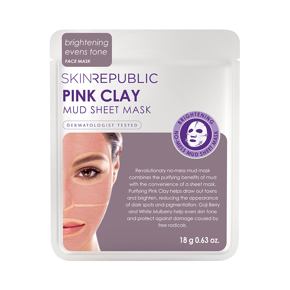 Pink Clay Mud Sheet Mask Face