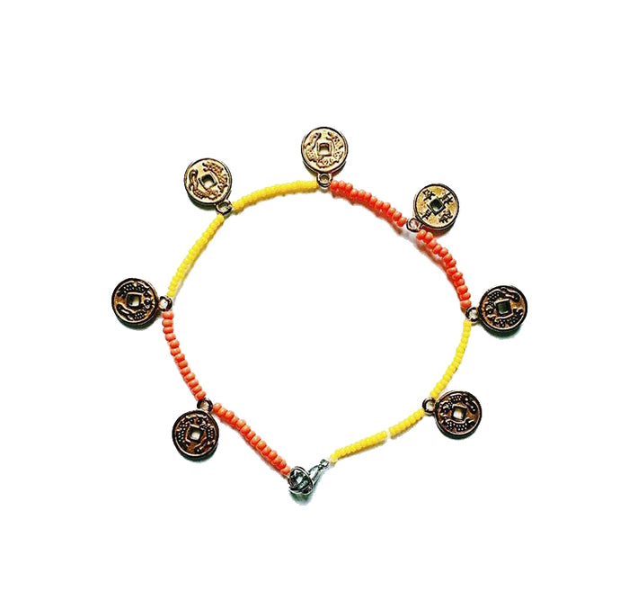 Anklet coral yellow