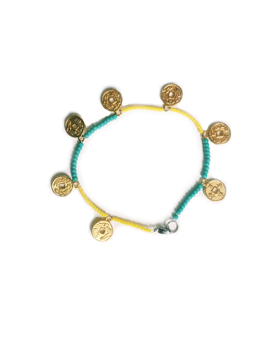 Anklet yellow turquoise