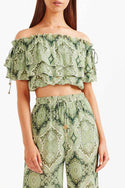 Tigerlily Delon Frill Top - Green