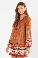 Tigerlily Womens Heloise Peasant Blouse - Rust