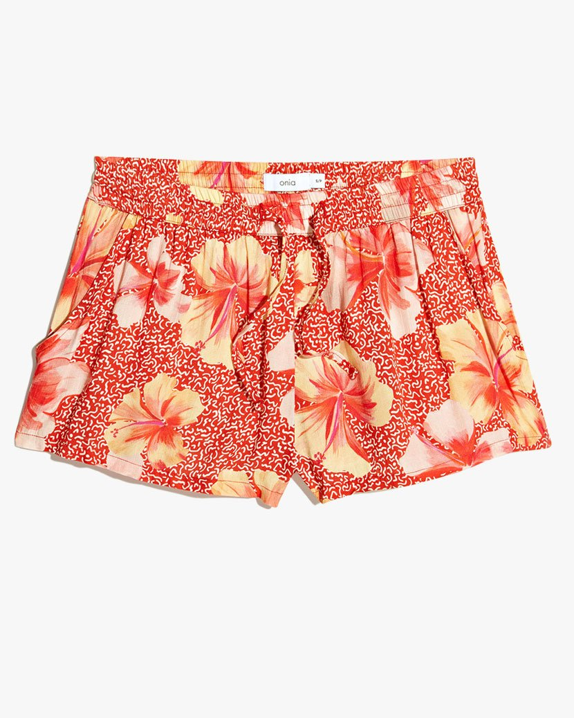 Aleen Hibiscus Geo Shorts in Sante Fe Red