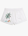 Aleen Illustrated Vacation Shorts in White