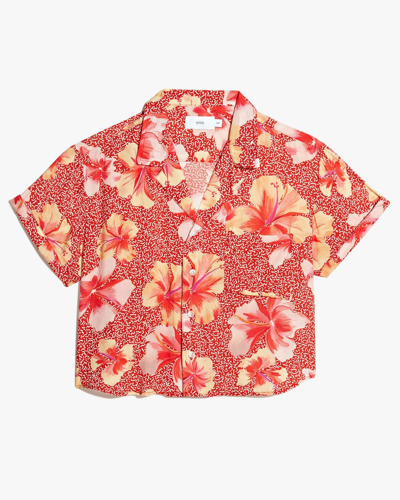 Celeste Hibiscus Geo Shirt in Sante Fe Red