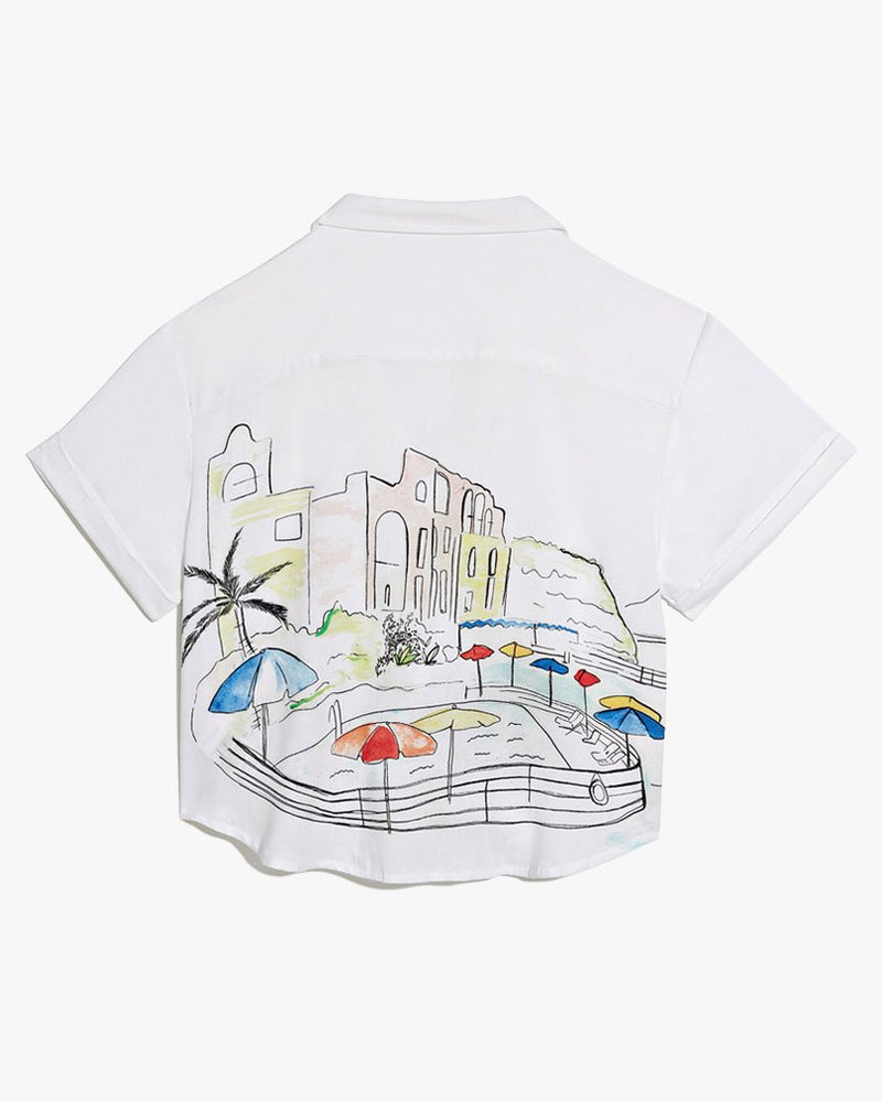 Celeste Illustrated Vacation Shirt in White
