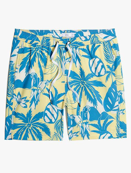 "Charles 7"" Swim Trunks in Tropical Bunch Bee Wax"