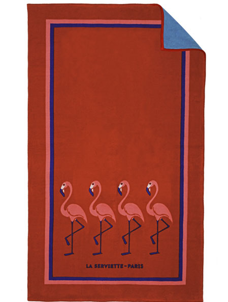 Red Flamingo Beach Towel