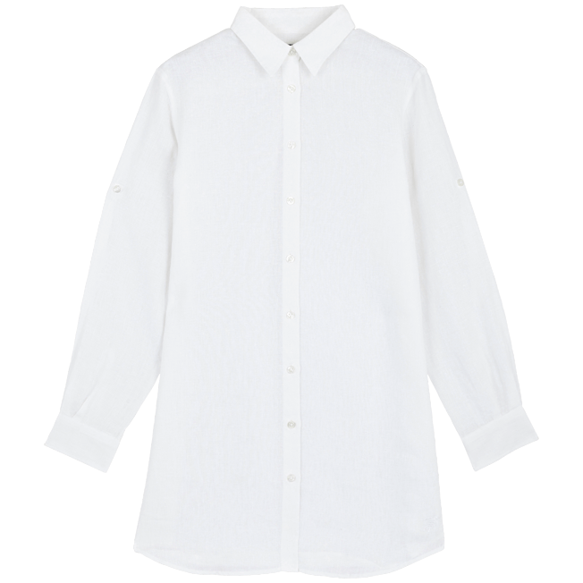 Long Linen Shirt in White