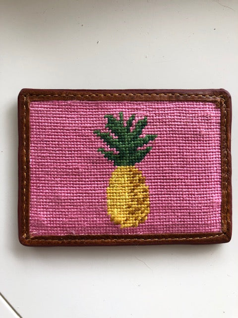 Coco Cabana Pineapple Needlepoint Card Wallet