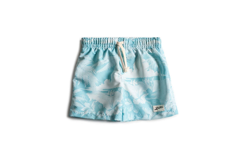 Kids' Teal Aloha Swim Trunk