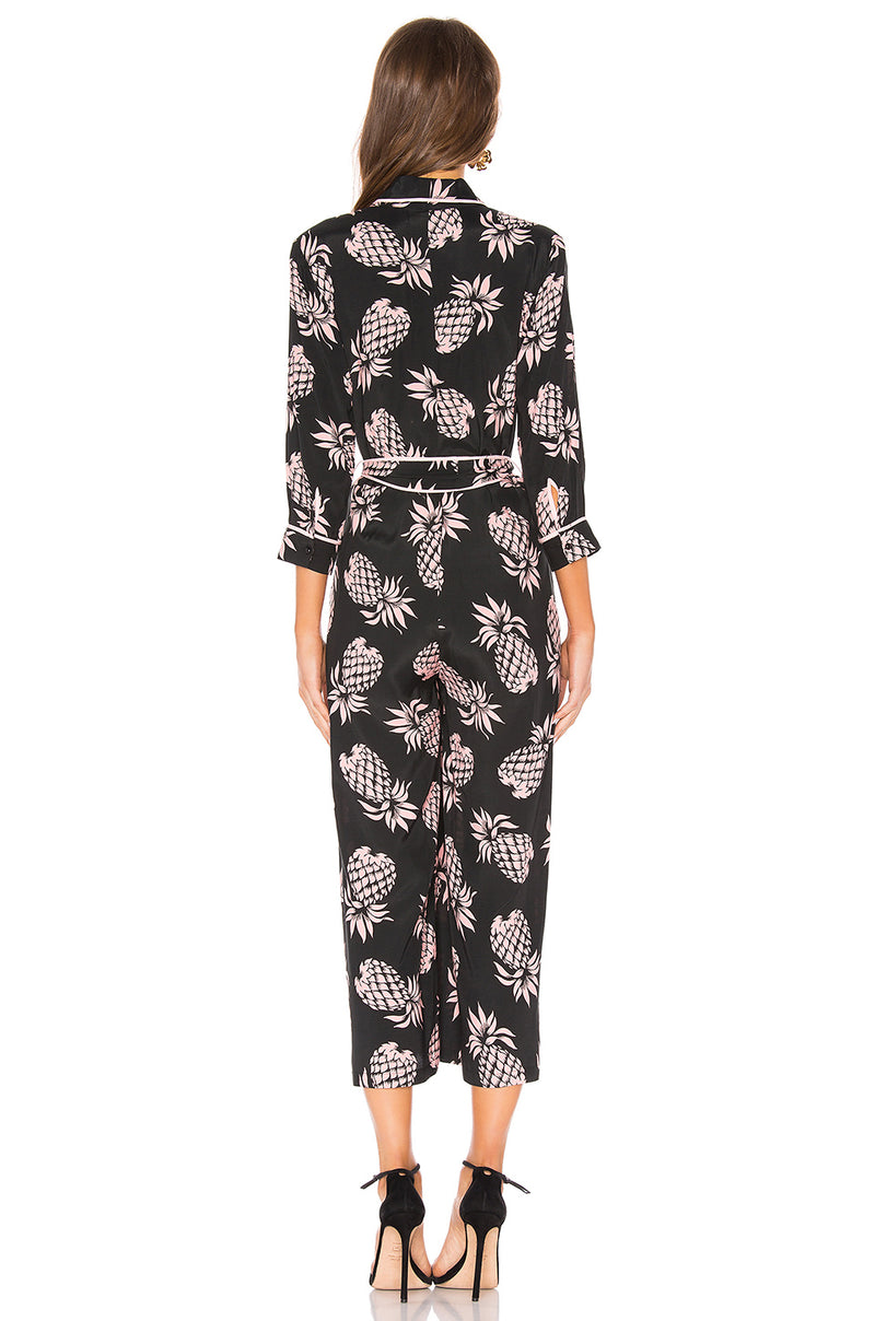 Beatnik Pineapple-Print Cropped Jumpsuit