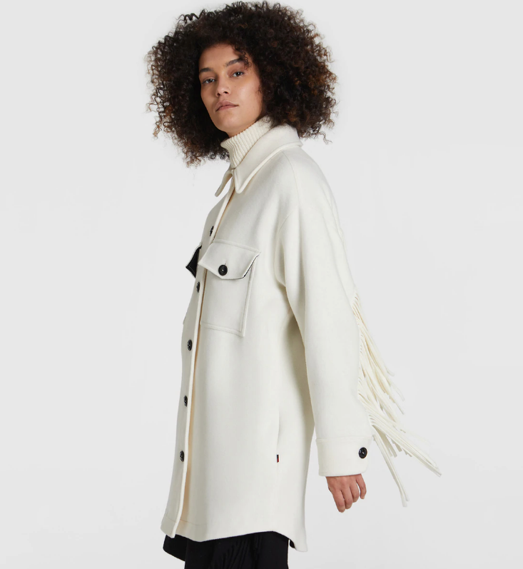 Alaskan Overshirt with Fringes in White Stone