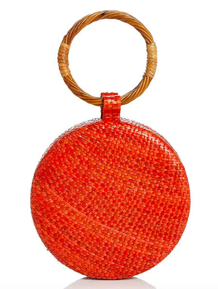Serena Wicker Circle Bag in Orange/Gold