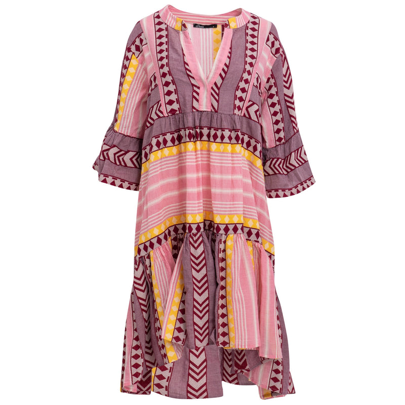 Short Zakar Dress in Pink/Yellow