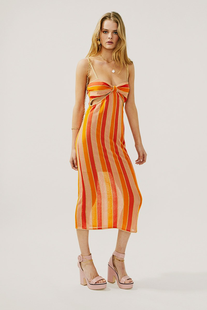 Billie Knit Cut Out Midi Dress in Multi Peach