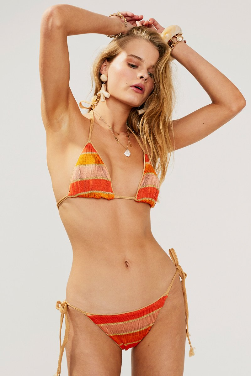 Billie Tie Side Bottom in Multi Peach