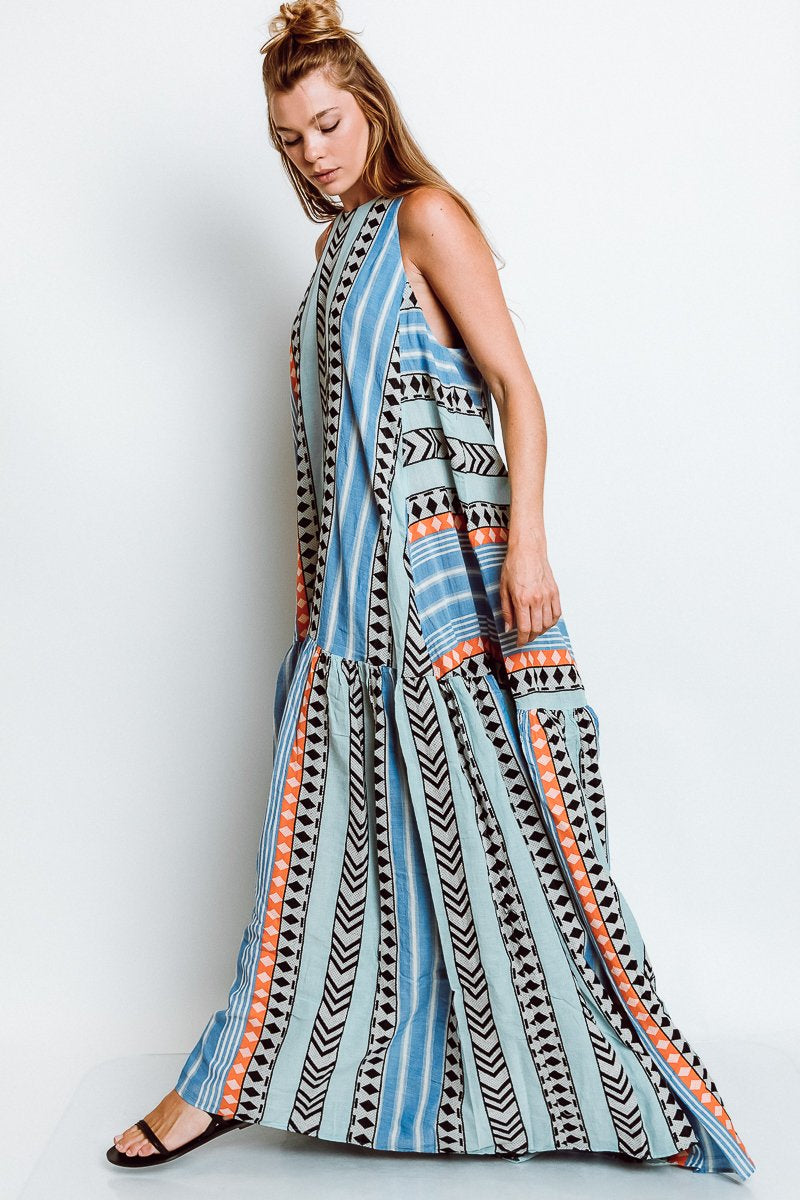 Long Zakar Pinelopi Dress in Blue/Orange