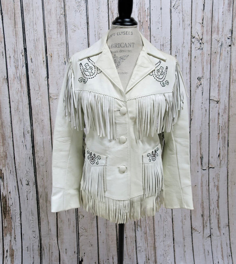 Vintage Jo-O-Kay white fringe beaded jacket