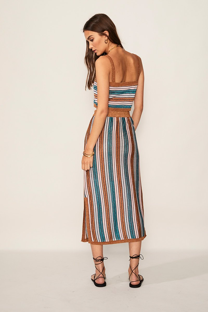 Lolita Midi Skirt in Multicolor Metallic