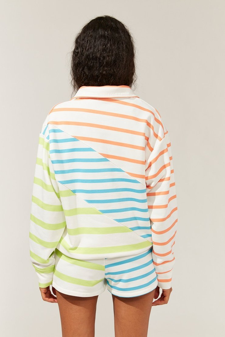 The Pull-Over in Ocean Color Blocked Stripe