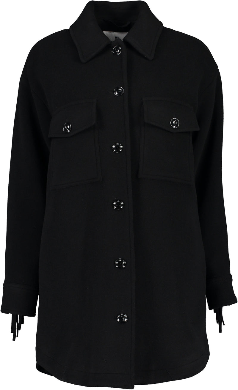 Alaskan Overshirt with Fringes in Black