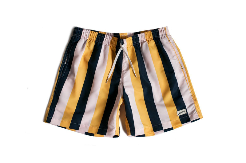 Pink and Yellow Striped Swim Trunk