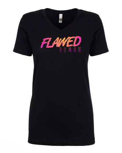 Flawed Human - Ladies V-Neck T-Shirt