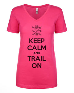 PATR - Keep Calm & Trail On w/ Petroglyph Design - Women's V-Neck T-Shirt