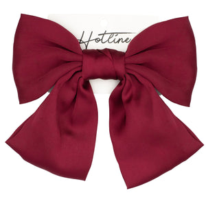 Oversized Bow Barrette in Burgundy