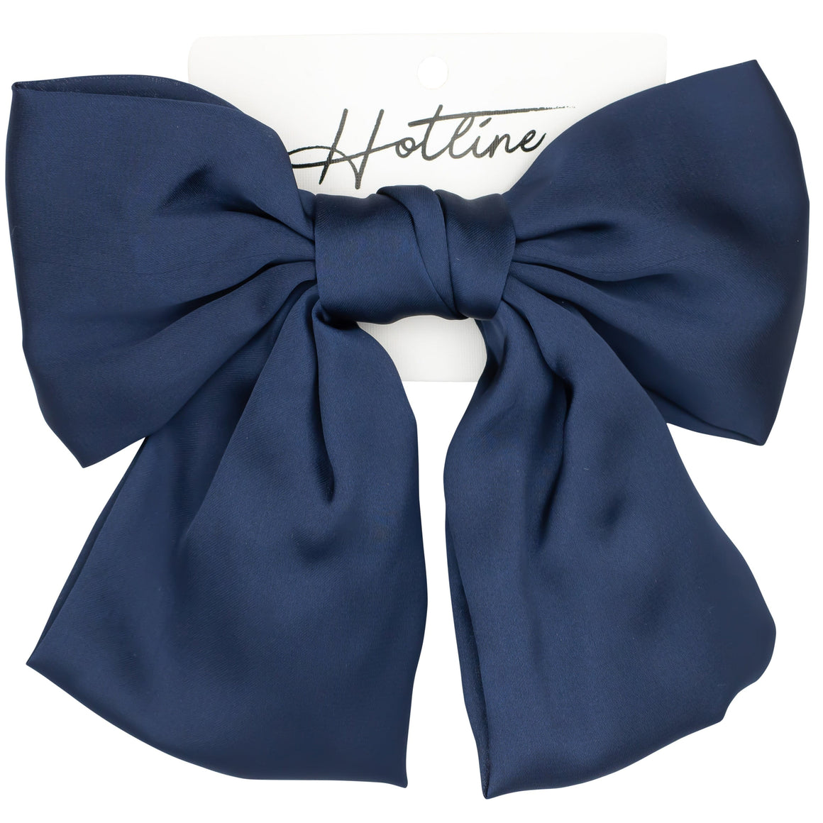 Oversized Bow Barrette in Navy