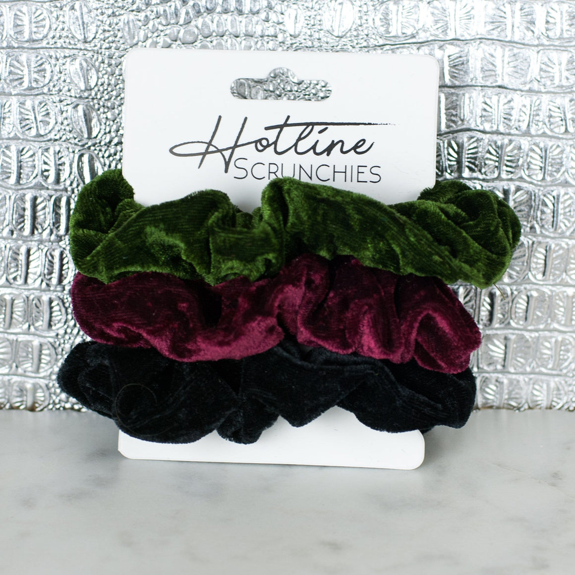 Holly Velvet Scrunchie Set