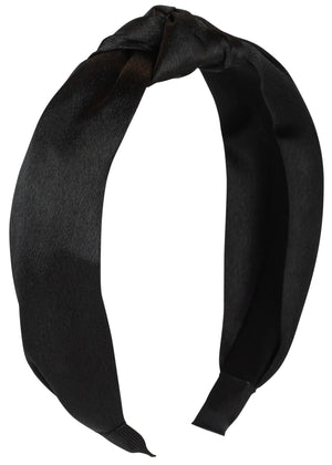Black Satin Knot Headband