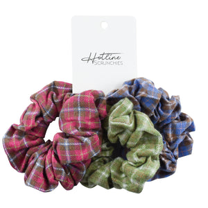 Fall Flannel Scrunchie Set