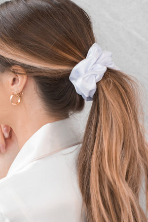 Satin Oversized Sleep Scrunchies (White)