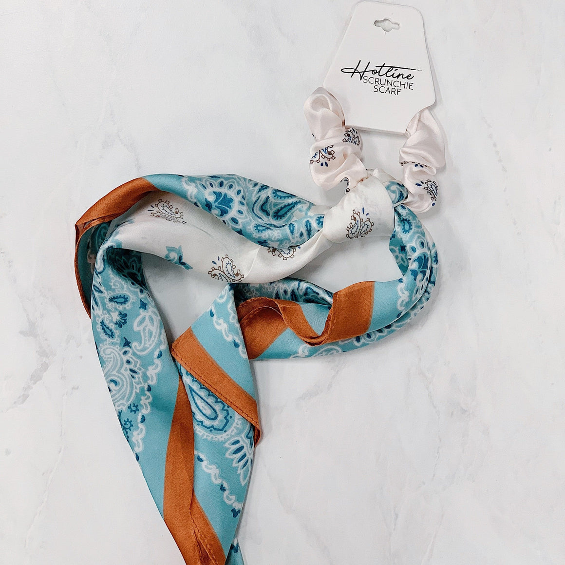 Mint & Rust Paisley Scrunchie Scarf