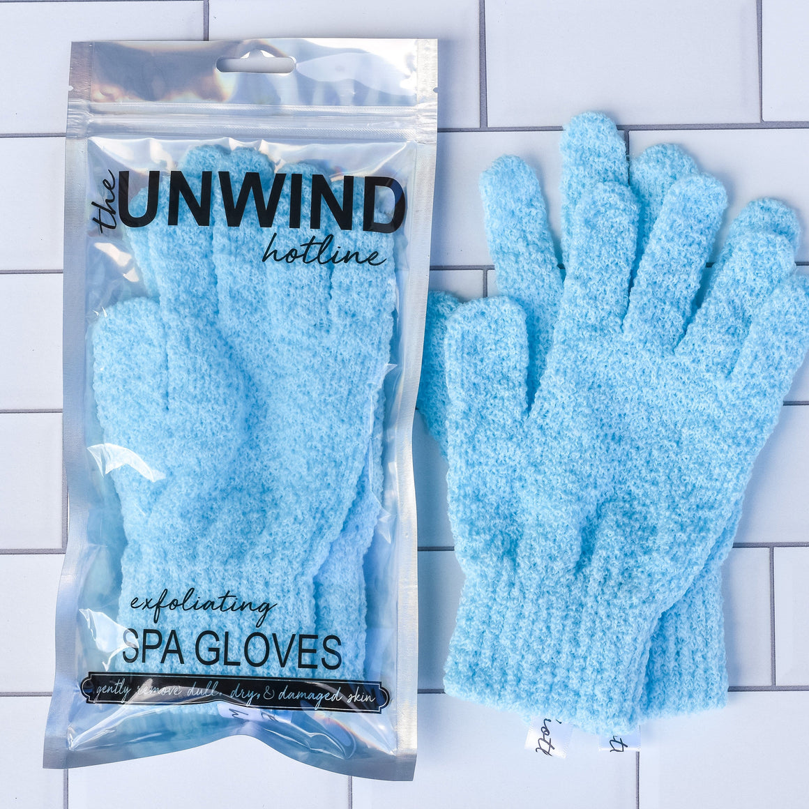 Exfoliating Spa Gloves (Blue)