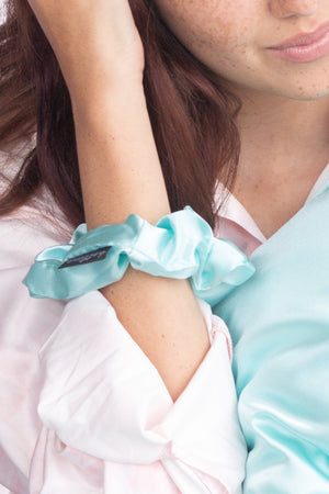 Satin Oversized Sleep Scrunchies (Mint/Blue)