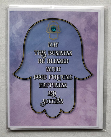 Hamsa Business Blessing - English Blue Greeting Card