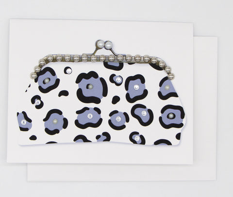 Blue Leopard Purse Greeting Card