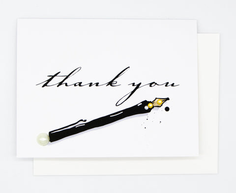 Thank You Black Pen Greeting Card