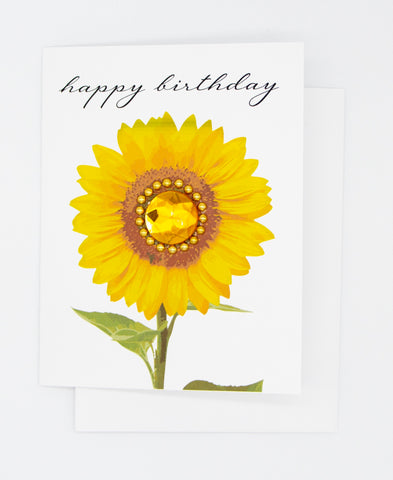 Happy Birthday Gold Sunflower Greeting Card