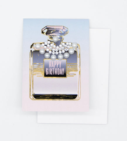 Happy Birthday Perfume Bottle Greeting Card Mini Size