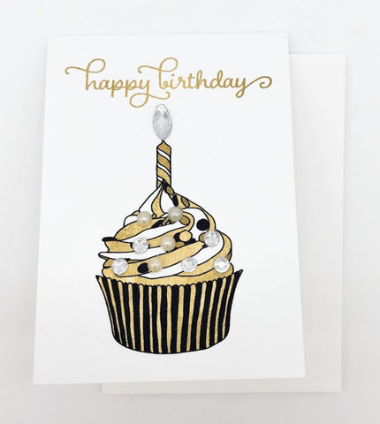 Chocolate Swirl Cupcake Happy Birthday Greeting Card Mini Size