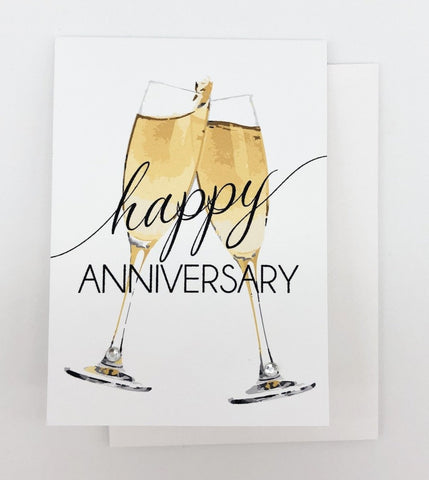 Happy Anniversary Champagne Greeting Card Mini Size