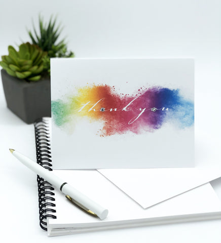 Thank You Rainbow Water Colour Greeting Card