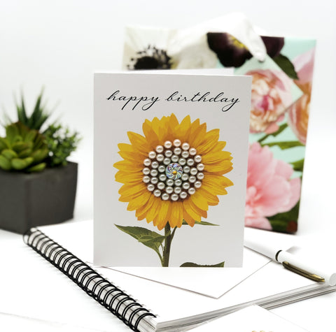 Happy Birthday Sunflower with Pearls Greeting Card